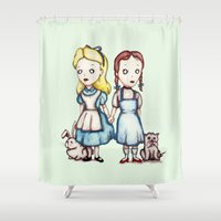 dorothy Shower Curtains featuring Alice & Dorothy by Ludwig Van Bacon