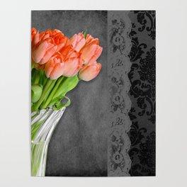 Orange Tulips, Lace & Damask Poster