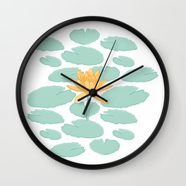 Water Lily Flower and Pads Illustration Wall Clock