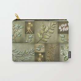 Earthtone Color Blocks with Botanicals Carry-All Pouch