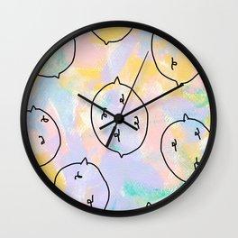 Talk and Listen - lemon pattern fruits illustration food drawing pastel colors kitchen art Wall Clock