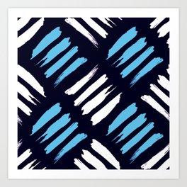 Blue and White Brush Strokes Pattern Art Print