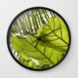 Tropical vibes leaves - Summer Light Wall Clock