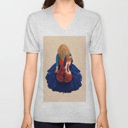 Cellist in Blue II Unisex V-Neck