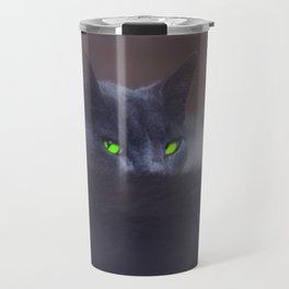 Black Cat with Green Eyes Travel Mug