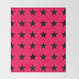 Black Stars on Pink Throw Blanket