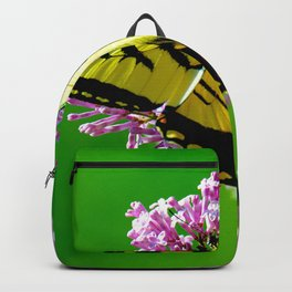 CLOSEUP PHOTOGRAPHY OF YELLOW AND BLACK BUTTERFLY PERCHED ON PINK FLOWER Backpack