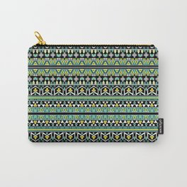 Geometric striped pattern . Green . 1 Carry-All Pouch