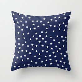 Navy blue background with white stars seamless pattern Throw Pillow