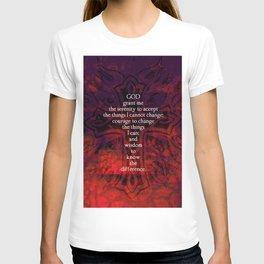 Serenity Prayer Inspirational Quote With Beautiful Christian Art T-shirt