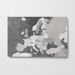 Distressed map of Europe in gray - PRINTS IN SIZES L and XL ONLY Metal Print