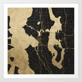 Seattle Black and Gold Map Art Print