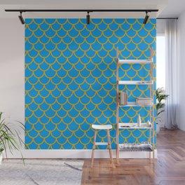 Mermaid Scale Pattern in Blue Wall Mural