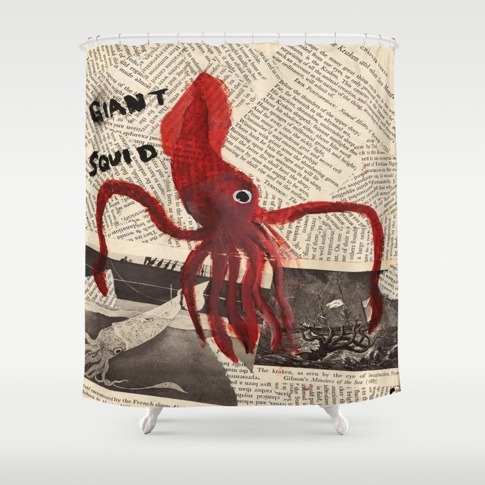 Giant Squid Shower Curtain By Cassidytebeau
