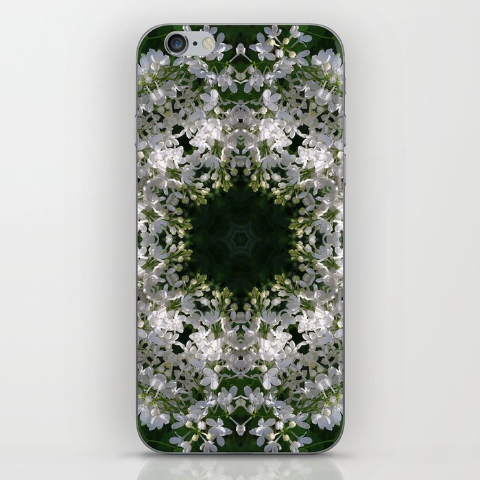 Botanical lace, white lilac mandala /kaleidoscope iPhone Skin