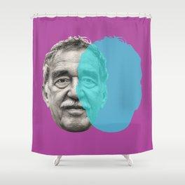 Gabriel Garcia Marquez - purple blue portrait Shower Curtain