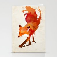 pop art Stationery Cards featuring Vulpes vulpes by Robert Farkas