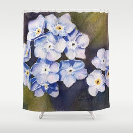 FORGET-ME-NOTS in WATERCOLOR Shower Curtain