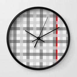 grey red criss sross Wall Clock