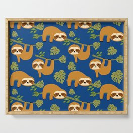 Cute Sloths on Blue, Baby Sloth Hanging Serving Tray