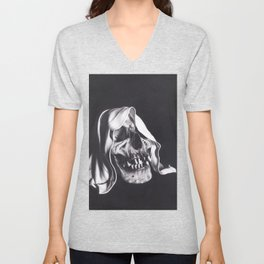 Realism Charcoal Drawing of Reaper Skull Unisex V-Neck