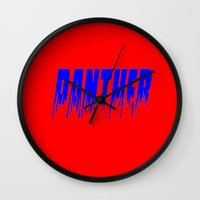 panther Wall Clocks featuring Panther by Brian Raggatt