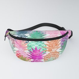 Bright exotic pineapples pastel watercolor pattern Fanny Pack