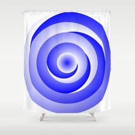 Blue Spiral Illusion Shower Curtain