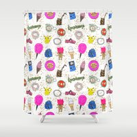 90s Shower Curtains featuring Growing Up in the 90s by Caroline Sansone