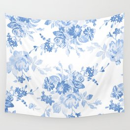 Modern navy blue white watercolor elegant floral Wall Tapestry