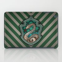 slytherin iPad Cases featuring Hogwarts House Crest - Slytherin by Teo Hoble