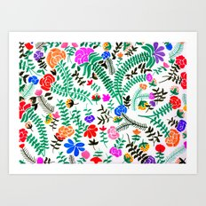 Mexican flowers pattern Art Print