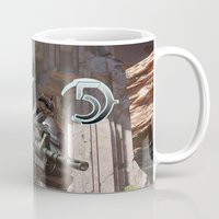 guardians of the galaxy Mugs featuring Halo5 Guardians by ezmaya