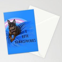 I Bite Transphobes-blue Stationery Cards
