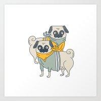 pugs Art Prints featuring Pugs by Ann Rubin