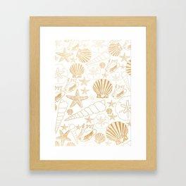 Gold Sea Shells on white Framed Art Print