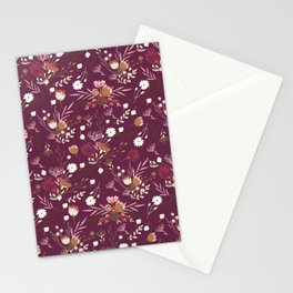 Burgundy white blush pink hand painted floral Stationery Cards