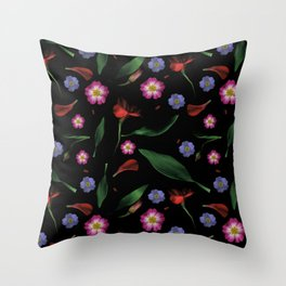 Moody and Gothic Primrose Flower Pattern Throw Pillow