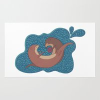 otters Area & Throw Rugs featuring Underwater Otters by Amarie