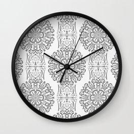 Gray white Damask ornament . Wall Clock