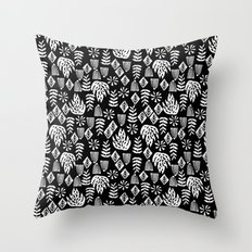 Tropical linocut tribal island pattern scandinavian art print black and white minimal Throw Pillow
