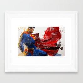 Watercolour Superman Framed Art Print