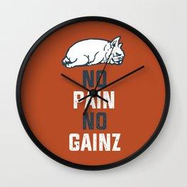NO PAIN NO GAINZ French Bulldog Wall Clock