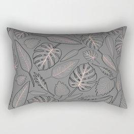 Monstera grey leaves Rectangular Pillow