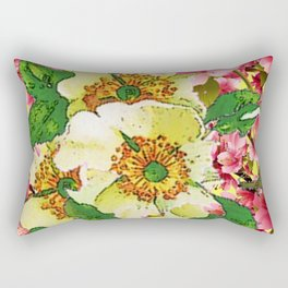CONTEMPORARY PINK & CREAMY WHITE SPRING FLOWERS Rectangular Pillow