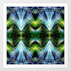 Blue Green Bright Rays,Fractal Art Art Print