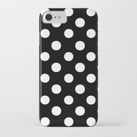 polka dots iPhone & iPod Cases featuring Polka Dots (White/Black) by 10813 Apparel