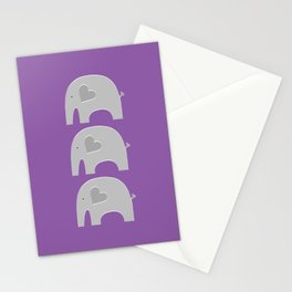 Purple Safari Elephant 2 Stationery Cards