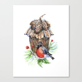 Bullfinch in the background of a cozy bird house. Canvas Print