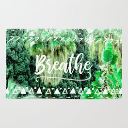 Modern typography breathe green tropical palm tree forest photography white boho geometric Rug